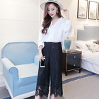 Womens Lace Wide Leg Casual Pants Loose High Waist Black White Fashion Formal SZ