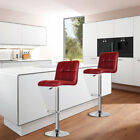 Modern Set of 2 Bar Stools Leather Adjustable Gas Lift Pub Chairs in Multi Color