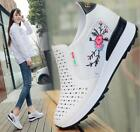 Womens Breathable Outdoor Athletic Pumps Sports Loafer Hidden Heel Shoes White