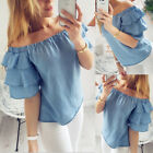 Women Off Shoulder Tops Long Sleeve Pullover Casual Blouse Summer Loose Shirt