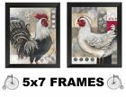 💗 5x7 Rooster Pictures Red Black Kitchen Wall Hangings Roosters Chicken Hen
