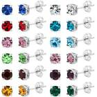 Birthstone Stud Earrings 5mm Round in Sterling Silver Plate ALL COLORS / MONTHS image