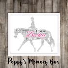 Personalised Horse Riding Rider Word Art Birthday Christmas Gift Print or Card