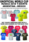 Childrens Kids Football Tshirt WORLD CUP 2018 Personalised Gift Argentina-Mexico