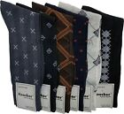 6, 12 Or 18 Pairs Mens Dress Socks Multi Color Print Casual Work Size 10-13 Crew