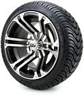 "Golf Cart Wheels and Tires Combo - 12"" Enforcer Machine/Black - Set of 4"