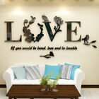 Diy 3d Mirror Love Flower Wall Sticker Quote Flower Acrylic Decal Home Decor
