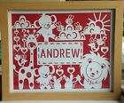 New Baby Child Personalised Name Papercut Christening Gift Present