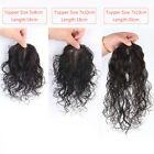Natural Curly 100% Human Hair Clip in  Mono Topper Hairpiece For Loss Hair
