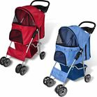 Pet Dog Cat Carrier with 4 Wheels Travel  Trailer Transport Red Blue Carriage