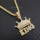 "Hip Hop Iced Lab Diamond Crowned King Pendant & 4mm 24"" Rope Chain Necklace"