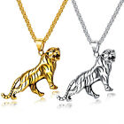 """Mens Punk Cool Stainless Steel Animal Tiger Shape Pendant Necklace Chain 22"""" image"""