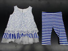 Infant, Toddler, & Girls Bonnie Jean 2pc Blue & White Set Size 3/6 Months - 4