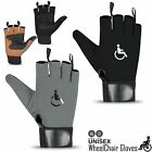 Rebo Wheelchair Gloves Mobility Fingerless Long Thumb Leather Palm Gloves
