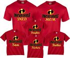 The Incredibles Custom Mom Dad Family Birthday Boy Girl Customized RED T-Shirts