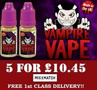 VAMPIRE VAPE 5X10 ML E-liquid - Official Stockist 3/6/12/18MG JUICE REFILL TPD