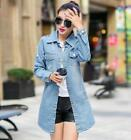 2016 New Style Women Coats Turn down collar Long Sleeve Ripped Denim Long Trench
