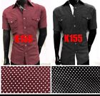 Mens short sleeve Western Fashion button down dress shirts dotted slim fit