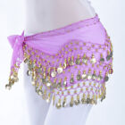 USA Women Belly Dance Costumes Hip Scarf Wrap Belt Skirt Gold/Silver Coins Beads