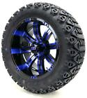 "Golf Cart Wheels and Tires Combo - 14"" Tempest SS Black and Blue - Set of 4"