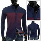 Mens Casual Navy Blue Shirt Red Check 100% Cotton Slim Fit Long Sleeve Clubbing