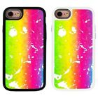 Rainbow Splatter Pattern 2 Piece Back Case Cover For Apple iPhone 7 & 8 - S1101