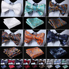 Mens Silk Floral Paisley Self Bow Tie Jacquared Bow Ties Handkerchief Set#J01 $7.95 CAD on eBay