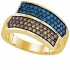 0.80 ct 10 ct Yellow Gold Blue Champagne Diamond Bypass Fashion Right H B 3/4 CT