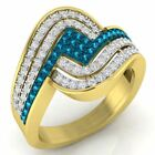 0.80 ct 10 ct Yellow Gold Blue & Diamond Ladies Cocktail Right Hand Fashion Ring