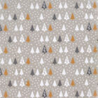 Elegant Christmas - Small Trees on Snow - Pale Putty - 100% Cotton Fabric Modern