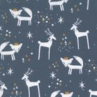 Christmas Critters - Smoke Blue - 100% Cotton Fabric Modern Scattered Star