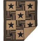 Black Check Star (King) FARMHOUSE QUILT - Confetti Strips Plaids, Checks, Solids