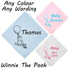 WINNIE THE POOH STYLE COTTON BLANKET PERSONALISED NAME DATE BABY SHOWER GIFT