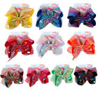 "Внешний вид - 6"" Rainbow Printed Hair bow Knotted Bow With Alligator Clip Headwear For Girls"