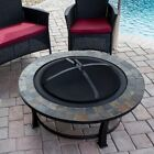 AZ Patio Heaters Wood Burning Fire Pit with Round Slate Table