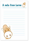 Personalised NOTELETS writing paper, blue, birthday party - PONY HORSE n034