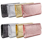 Premium Metallic Glitter Flap Clutch Evening Bag Handbag 8 Colors