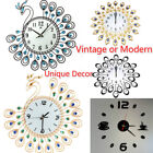 Unique Vintage Style Peacock Antique Wall Clock for Home Kitchen Office Decor US