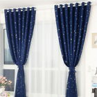 2pcs/1set Stars Printed Thermal Blackout Pencil Pleat Curtains Bedroom Window CH
