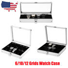 12/10/6 Slot Watch Box Display Case Organizer Glass Top Jewelry Storage Aluminum