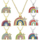 Rainbow Necklace For Kids Gift Multi-Color Rhinestone Crystal  image