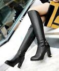 Womens Ladies Retro High Heels Platform Gladiator Shoes Knee High Boots UK Size