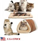 2-in-1 Cat Pet Bed Cushion Mat Tunnel Fleece Tube Soft Pad For Dog Kennel House
