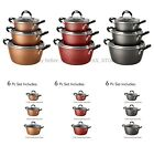 copper pot sets - Tramontina Nonstick 6-Piece (3 Pots 3 Lids) Stackable Cookware Set Soft Grip