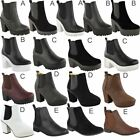 New Womens Ladies Chelsea Ankle Boots Flat Low Block Heel Chunky Elastic Size