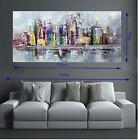 Hand Painted Abstract Oil Painting on Canvas Wall Art Landscape NY city 977