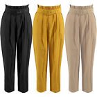 New Frill High Waisted Belted Paper Bag Cigarette Trousers Casual Tapered Pants
