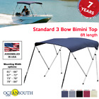 BIMINI TOP 3 Bow Boat Cover 6ft Long With Rear Poles image