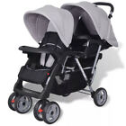 Folding Tandem Stroller Double Pushchair Twins Baby Toddler Pram Buggy Steel New