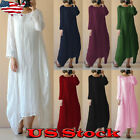 Womens Crew Neck Loose Casual Solid Cotton Linen Baggy Long Maxi Dress Plus Size